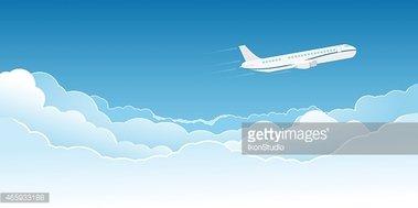 Avión Volando Por Encima DE Las Nubes vectores en stock.