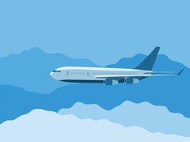 Avión Volando A Través DE Las Nubes vectores en stock.