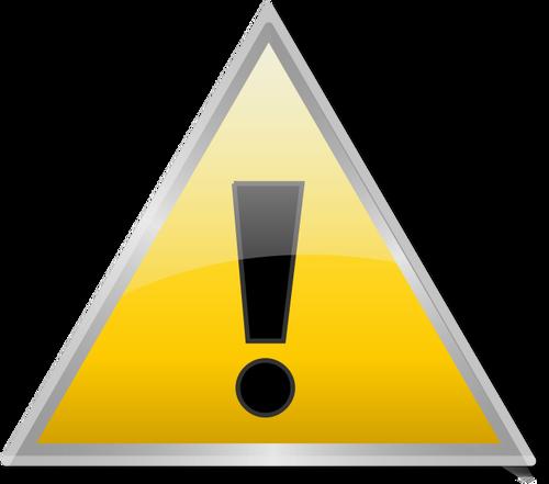 Sinal de aviso triangular brilhante vector clipart.