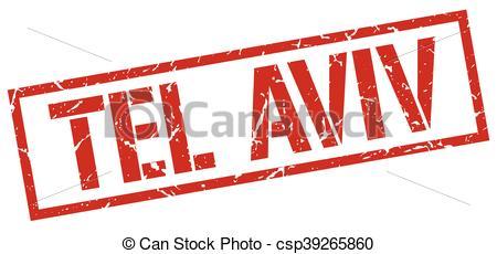 Clip Art Vector of Tel Aviv red square stamp csp39265860.