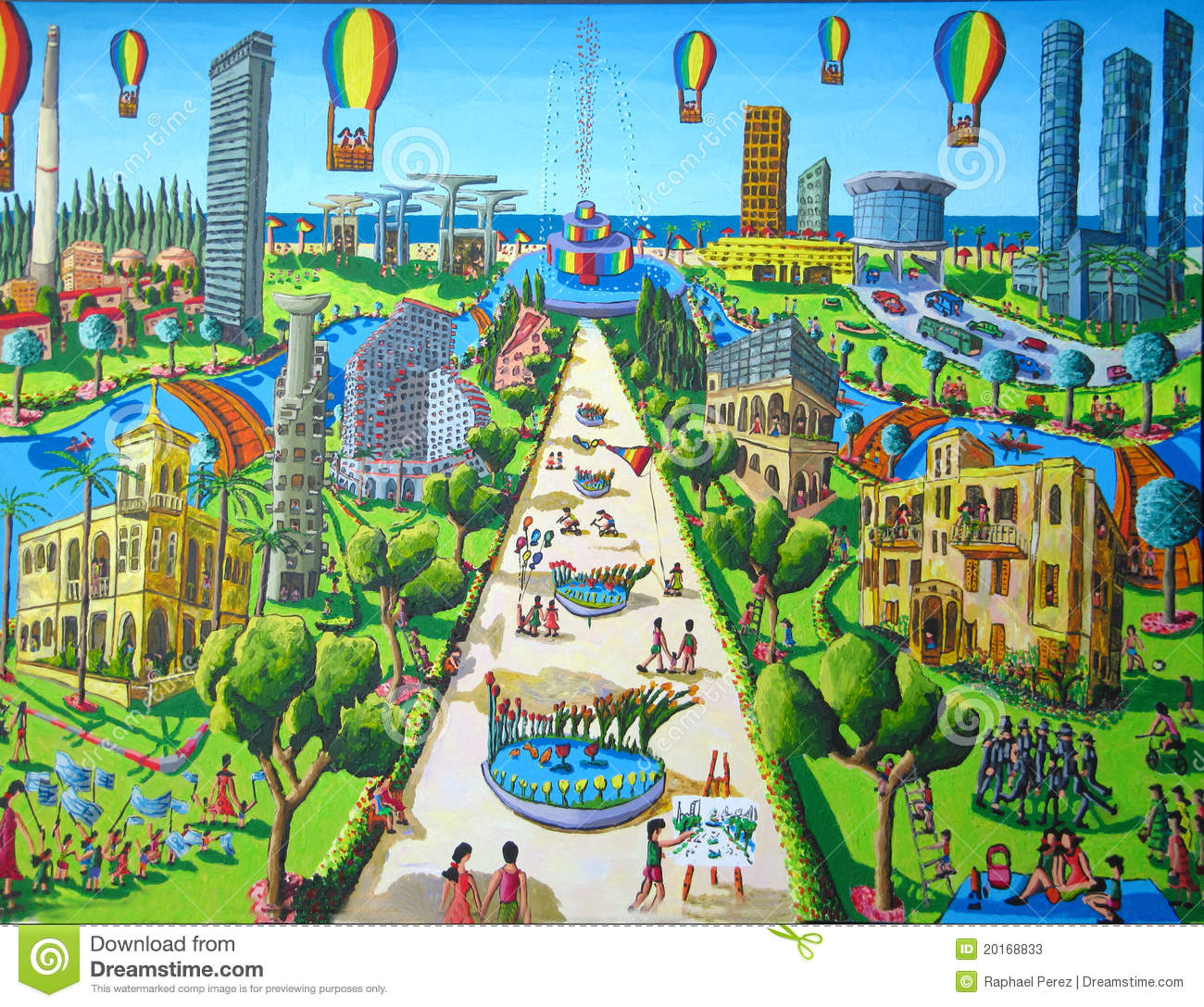 Naive Painting Of Tel Aviv City Stock Photos.