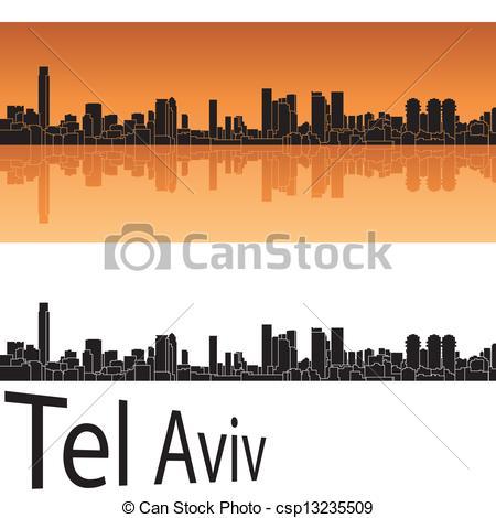 Vector Clipart of Tel Aviv skyline in orange background in.