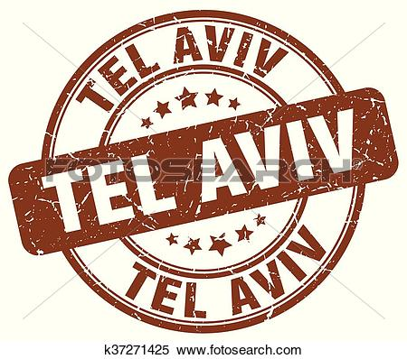 Clipart of Tel Aviv brown grunge round vintage rubber stamp.