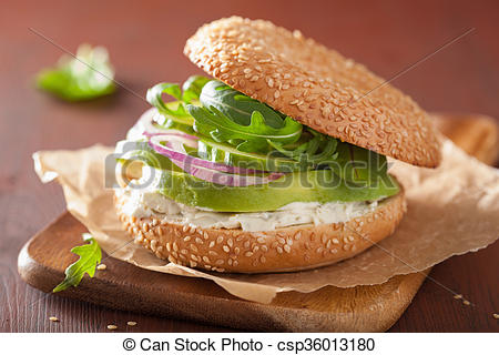 Pictures of avocado sandwich on bagel with cream cheese onion.