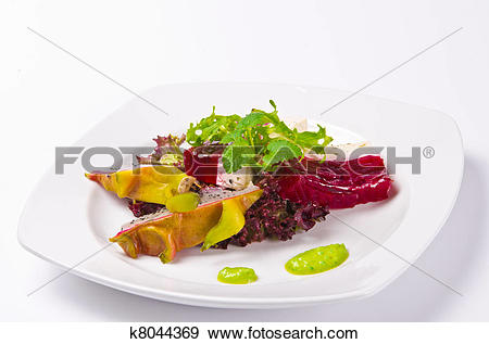 Stock Photograph of Beetroot horseradish tureen with avocado cream.