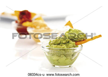Stock Images of Tortilla Chips with avocado dip 08334cs.