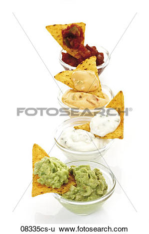 Stock Images of Tortilla Chips with avocado dip 08335cs.