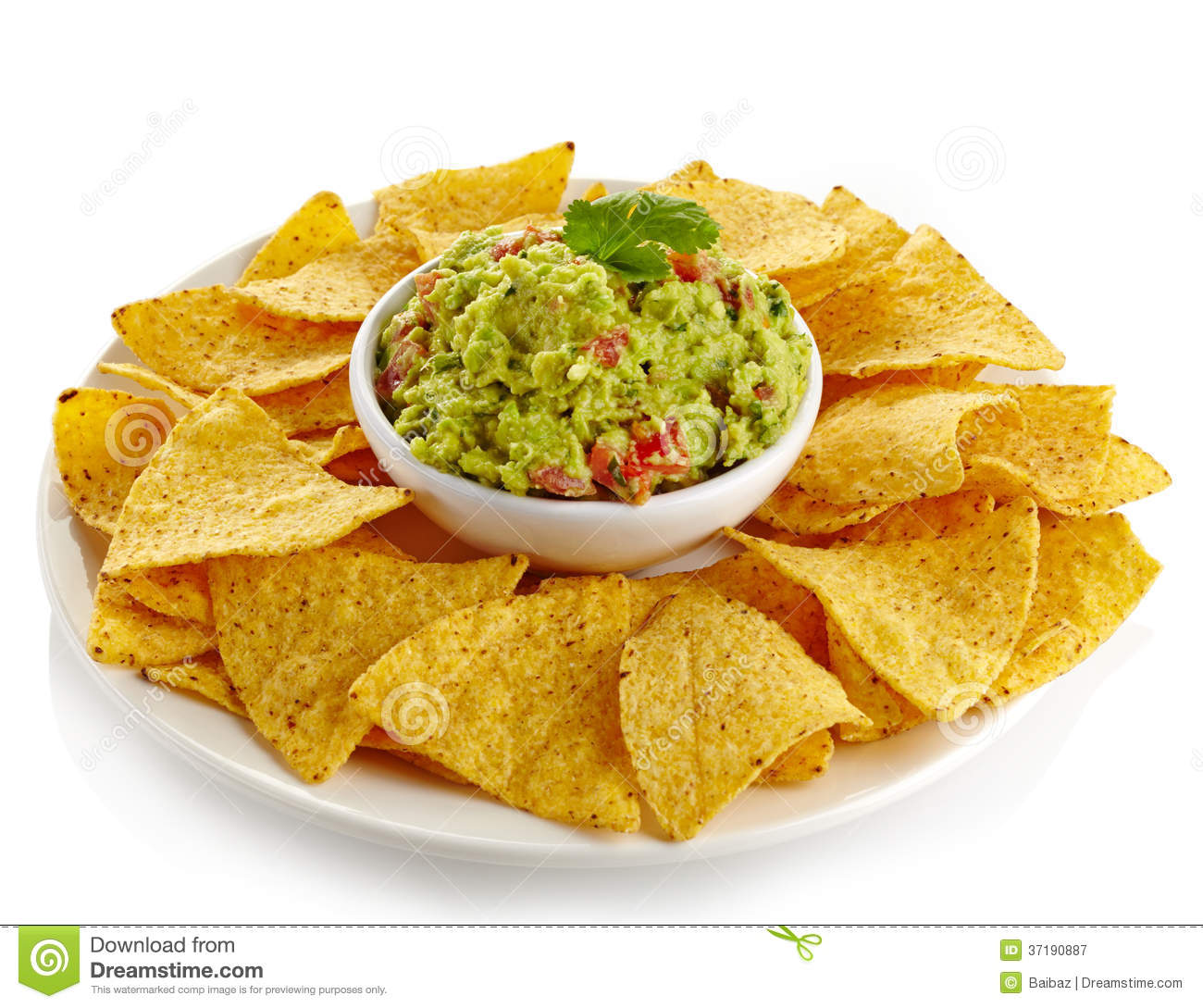 Nachos And Avocado Dip Royalty Free Stock Photography.