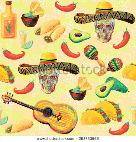 Mexican seamless music pattern with skulls, sombrero hat.
