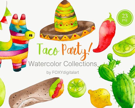 Taco Clipart, Mexican Food Clipart, Watercolor Cinco De Mayo.