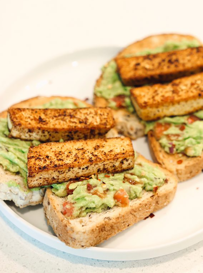 Spicy Tofu Avocado Toast.