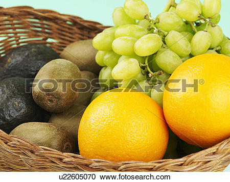 Stock Photography of vegetable, green grape, avocado, orange, kiwi.