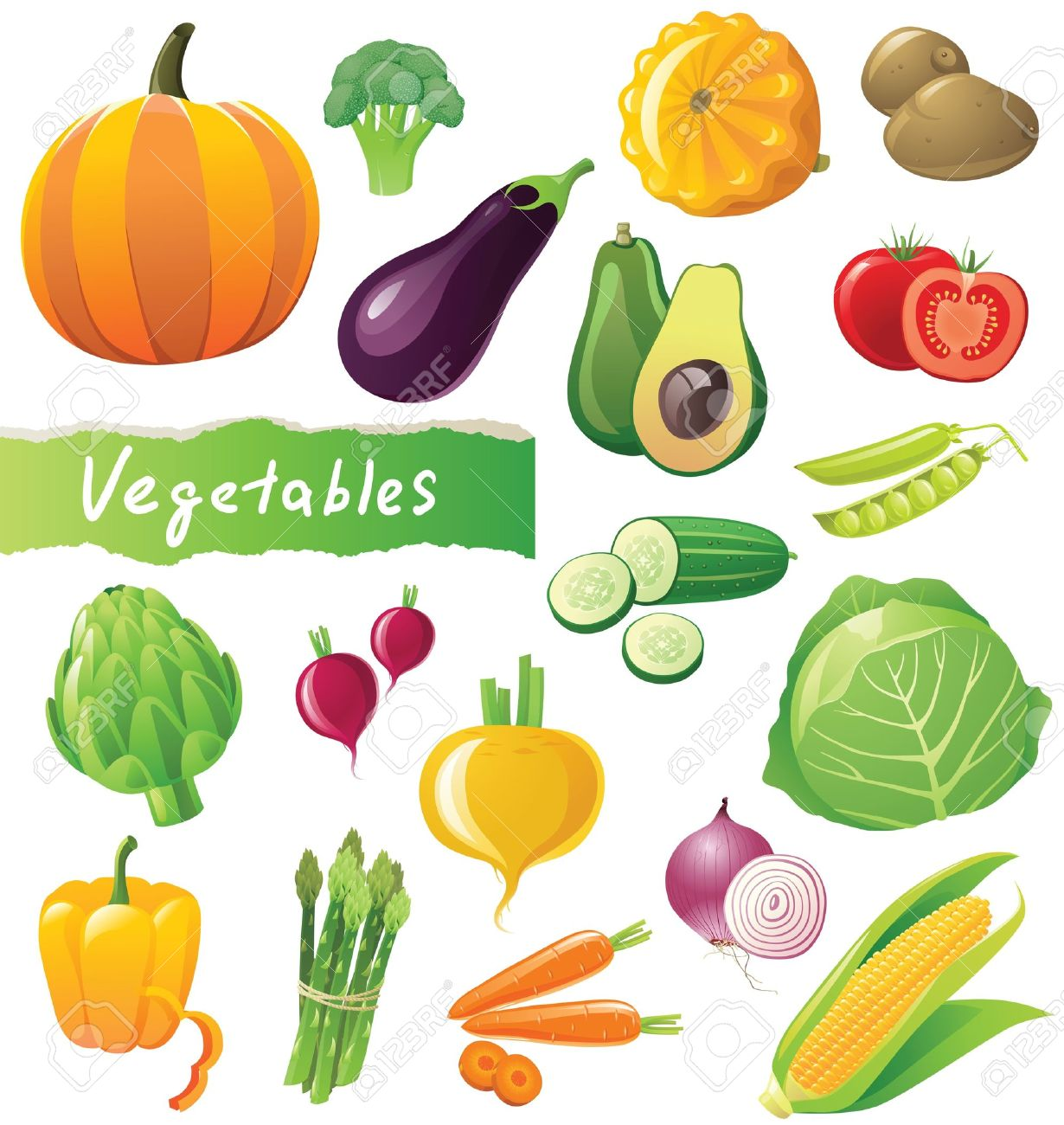 Fresh Vegetables Icons Set Royalty Free Cliparts, Vectors, And.