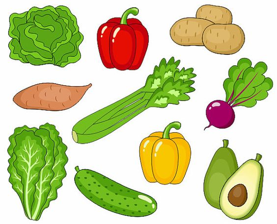 Vegetables Clip Art, Cute Veggies Clipart, Digital Clip Art.