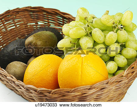 Stock Photo of vegetable, green grape, avocado, orange, kiwi.