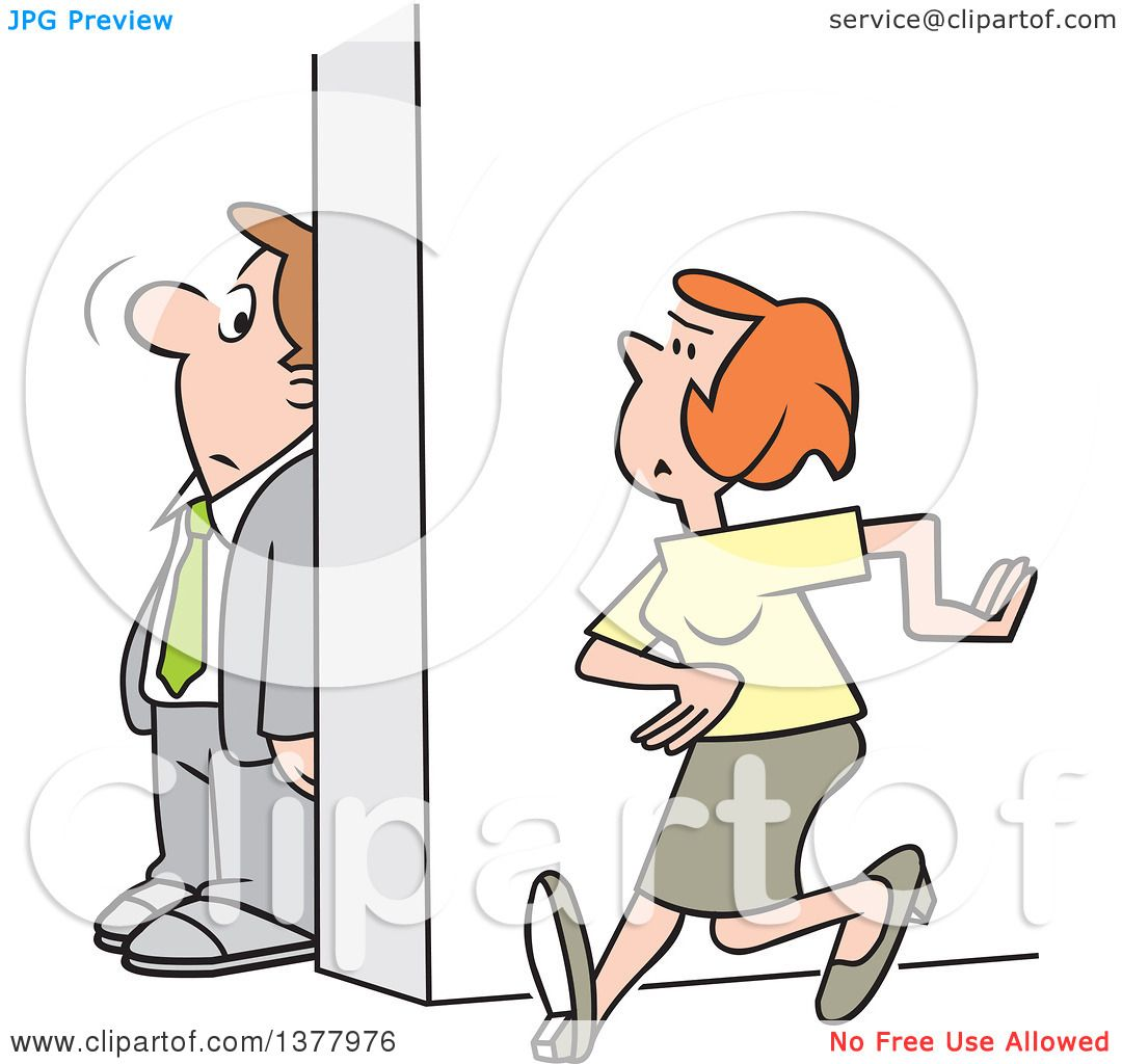 Clipart of a Cartoon White Businessman Hiding Behind a Wall to.