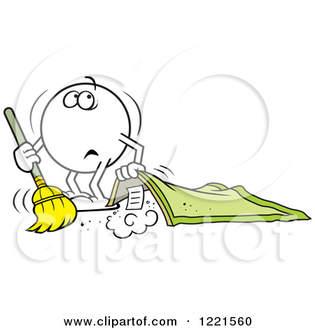 Clipart of a Moodie Character Sweeping Dust Under the Rug.