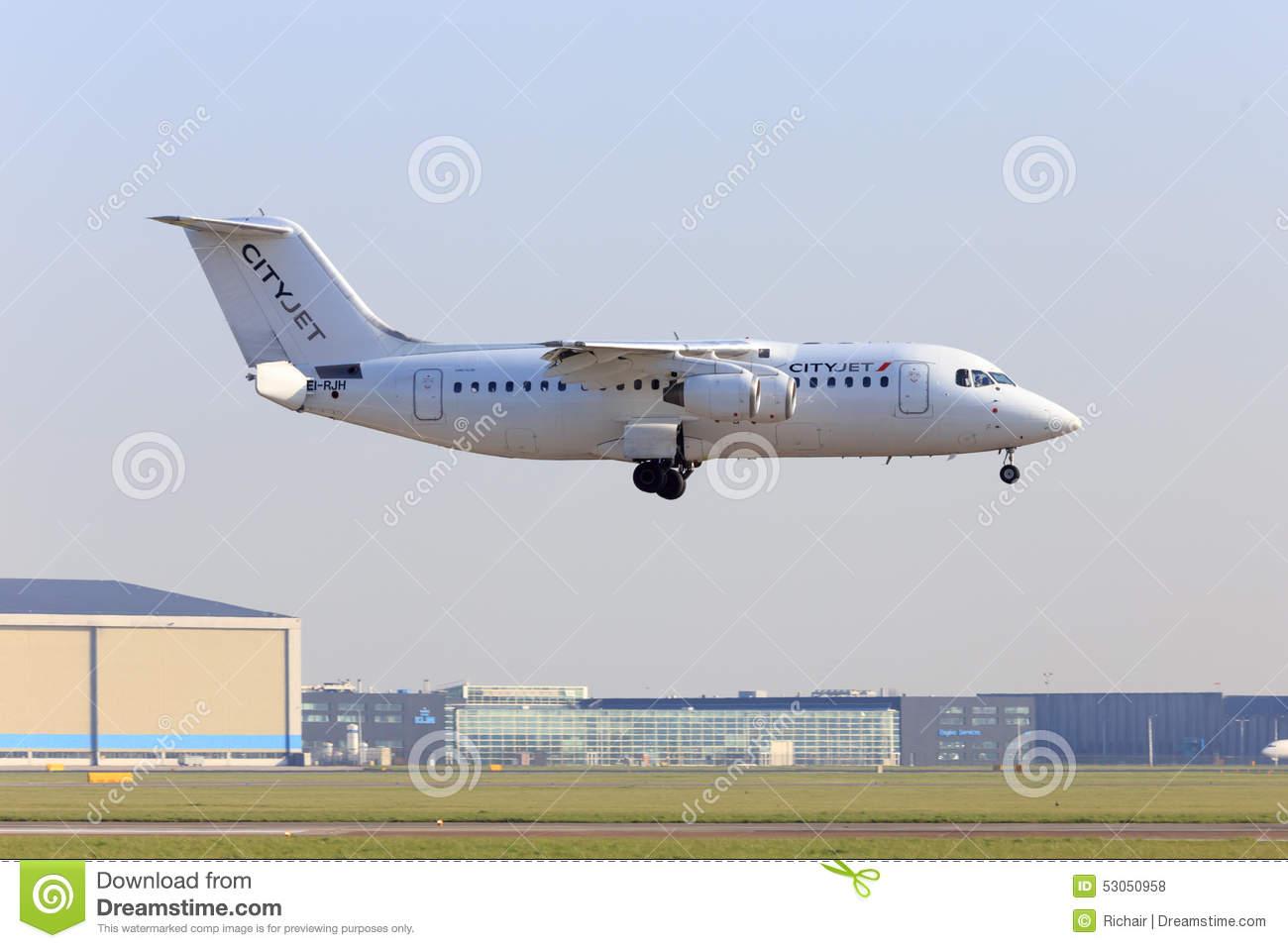 Cityjet Avro RJ85 Landing Editorial Stock Photo.