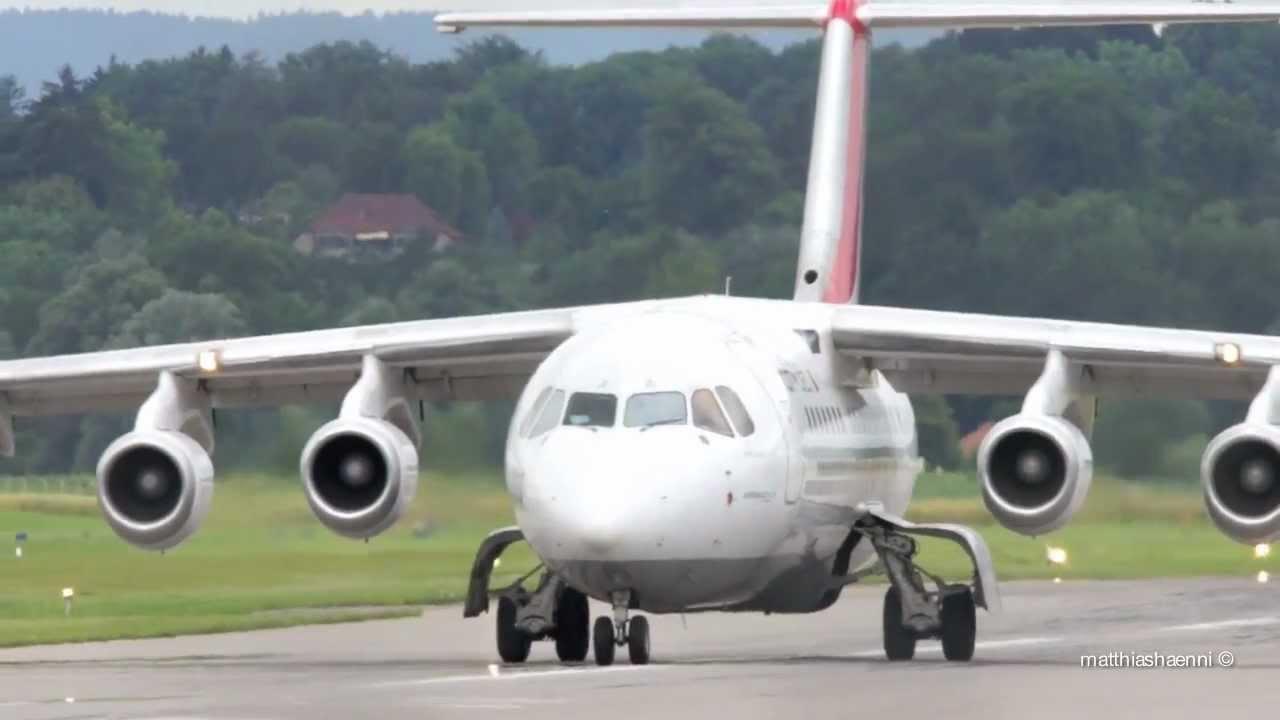 Avro Regional Jet RJ85 Take Off at Airport Bern.