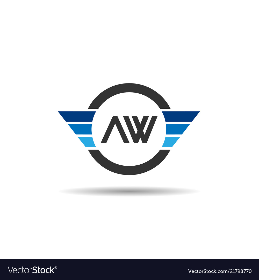 Initial letter aw logo template design.