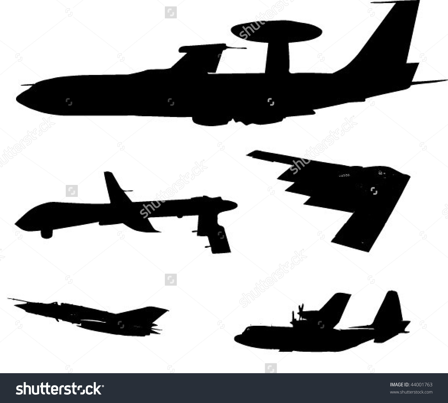 Different Military Planes Stock Vector 44001763.