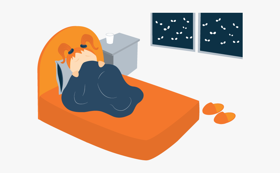 Illustration Of Anxious Child Awake In Bed.