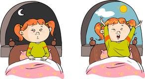 Awakening Girl Yawning Bed Messy Morning Hair Stock Photo.