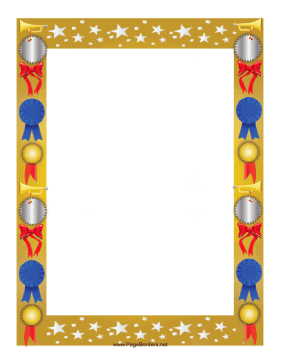 This colorful award border is decorated with stars and features.