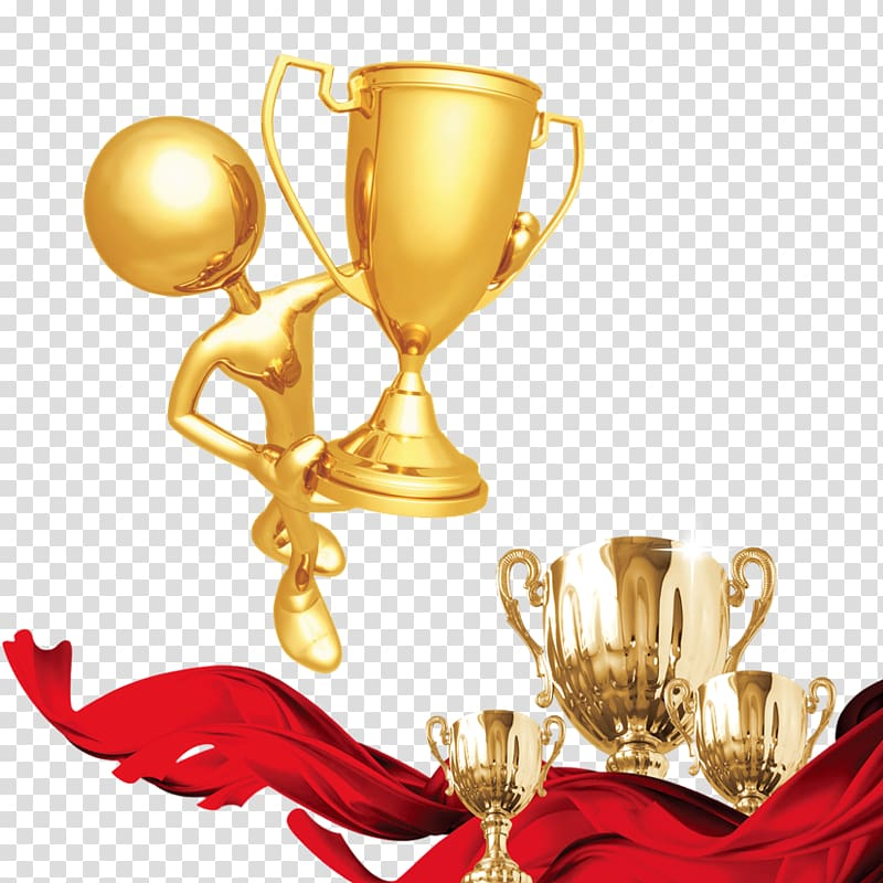Award Medal Party Trophy Ceremony, Gold cup red silk transparent.