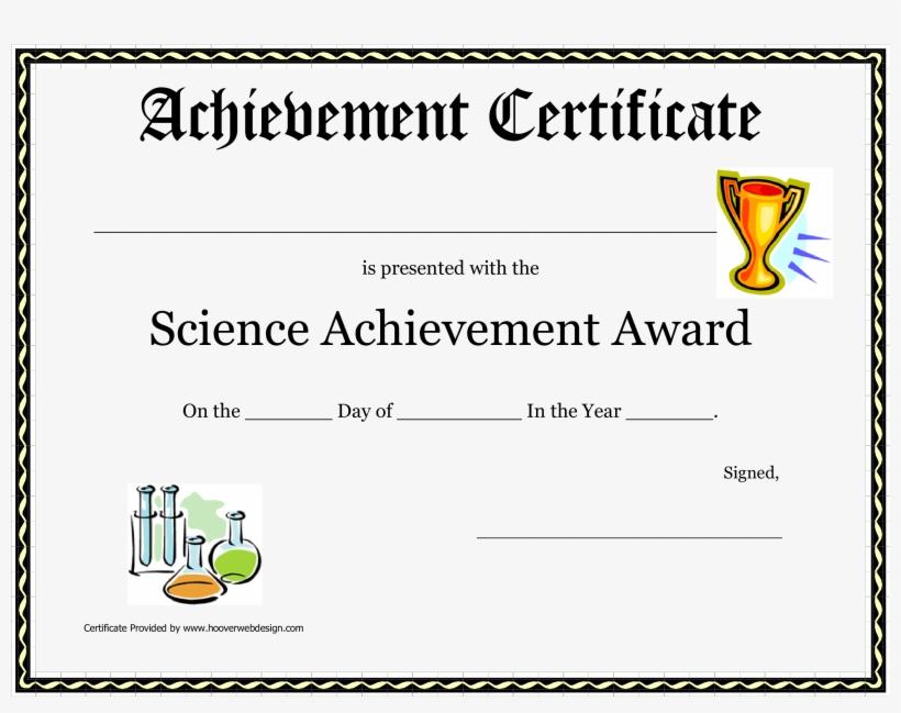 Science Achievement Award Printable Certificate Main.