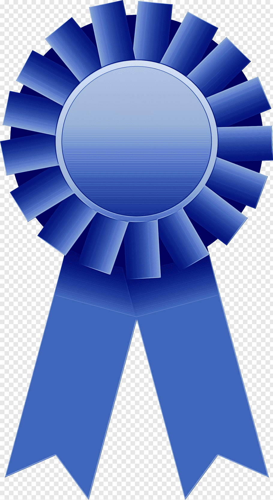 Blue Background Ribbon, Award Or Decoration, Rosette, Red.