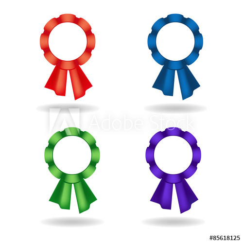 Set of vector rosettes. Decoration from red, blue, green.