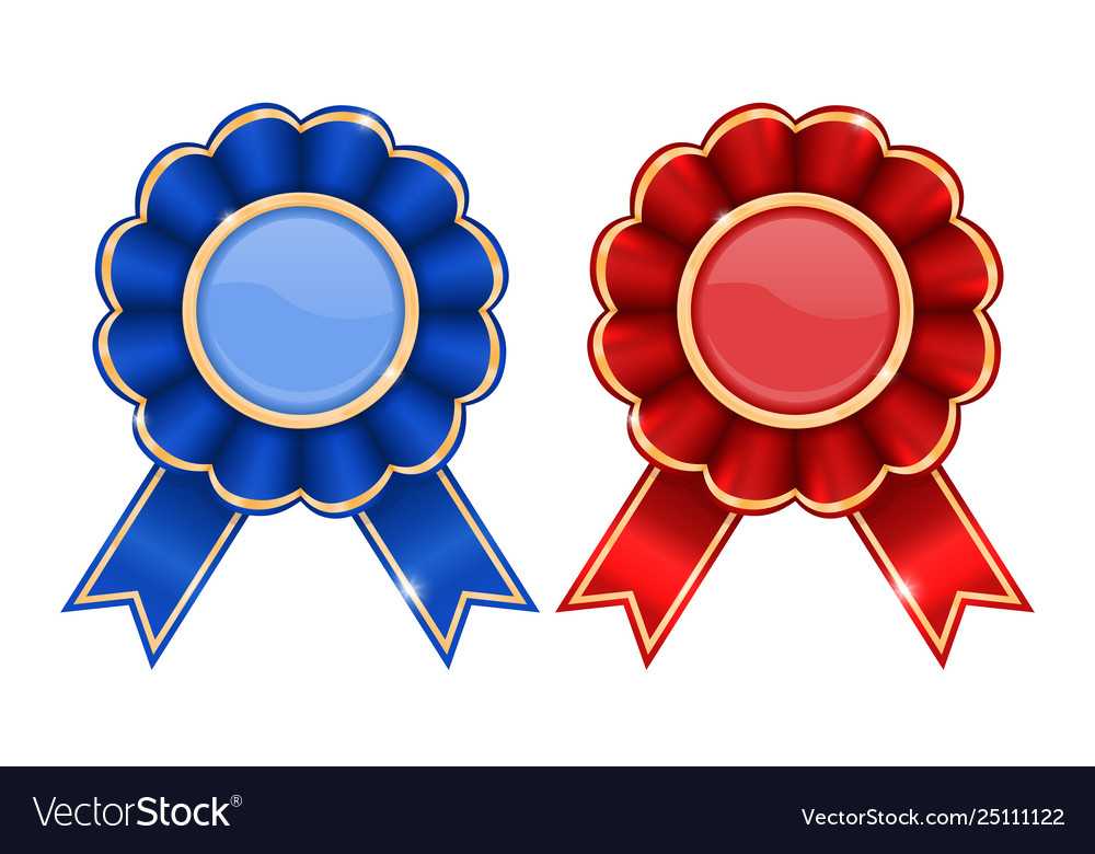 Blue and red award badges.
