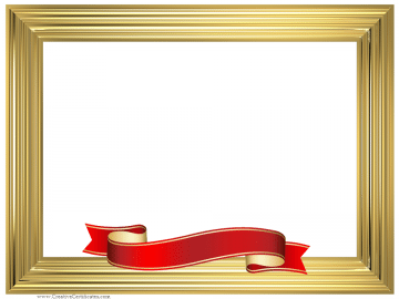 Gold frame with a red and gold ribbon.