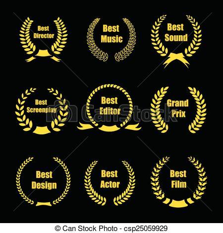 Vector Film Awards, gold award wreaths on black background.