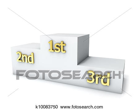 Clear winners award podium isolated on white background. Clipart.