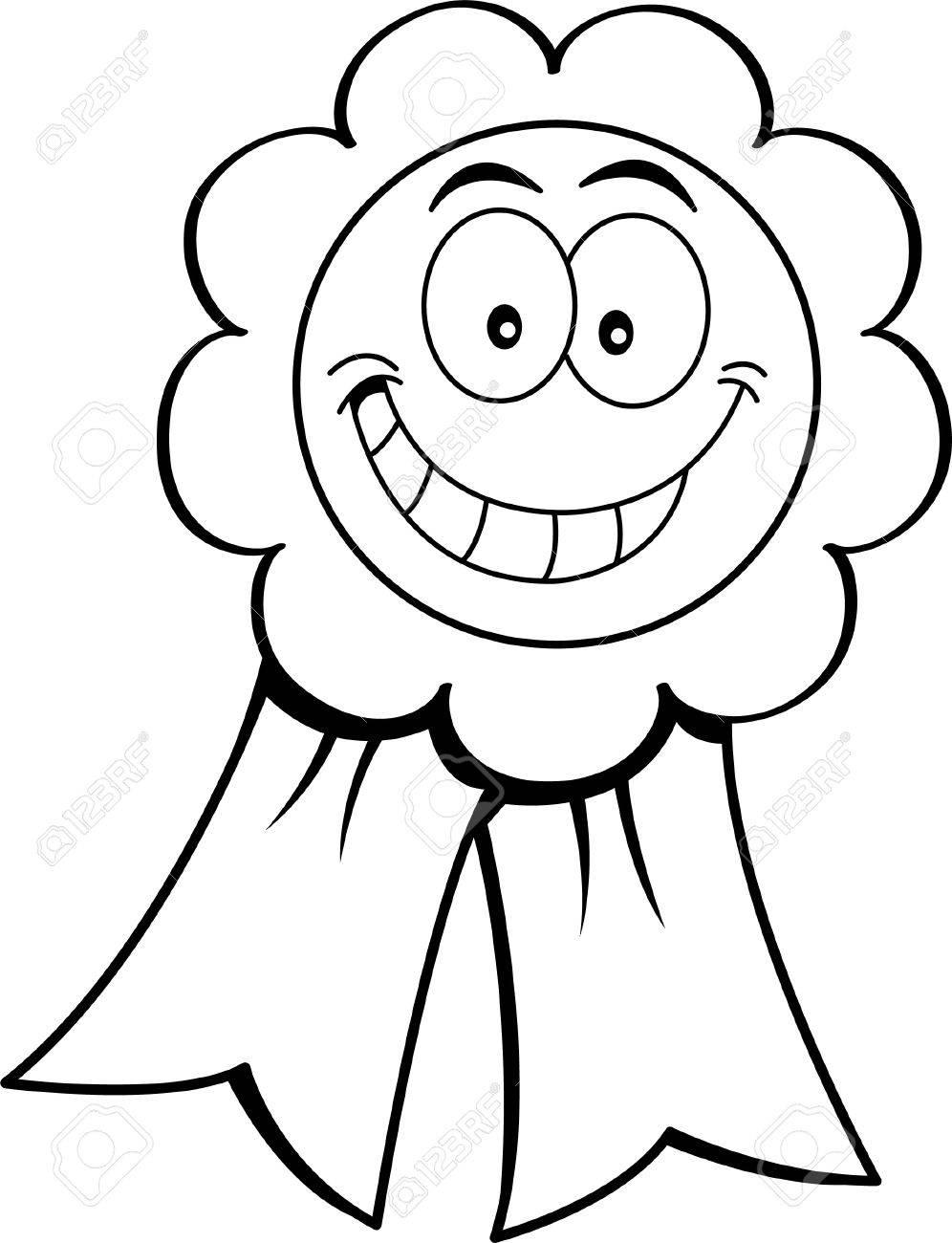 Black and white illustration of an award ribbon.