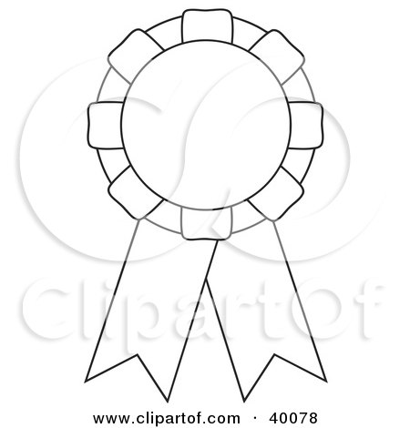 Clipart Illustration of a Black And White Cut And Color Award Ribbon.