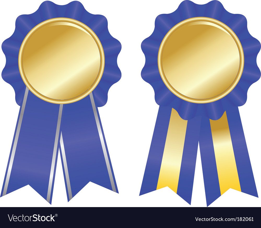 Two blue award ribbons.