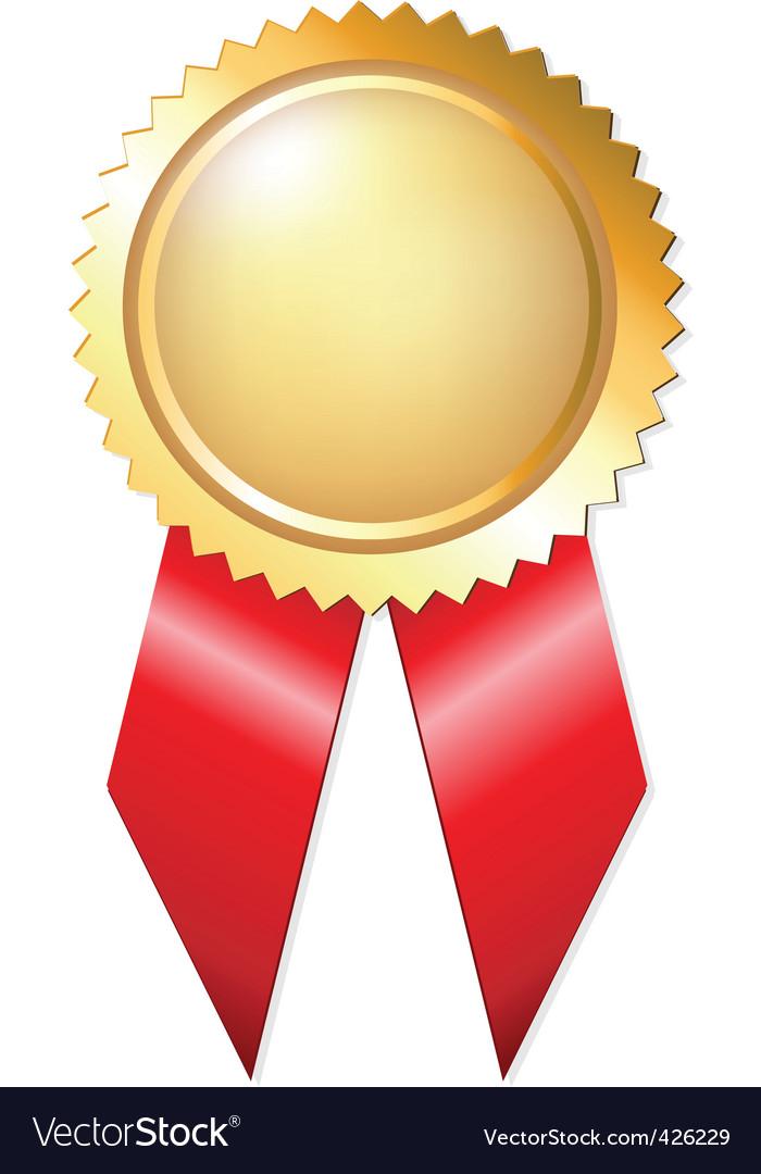Gold award ribbons.