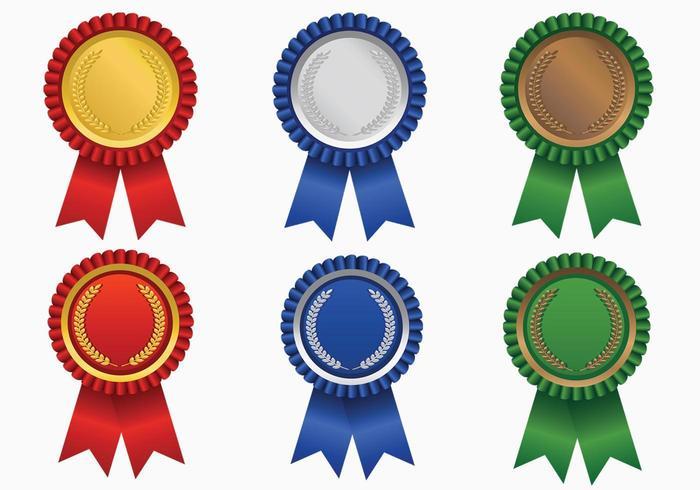 Bright Colored Award Ribbon Vector Pack.