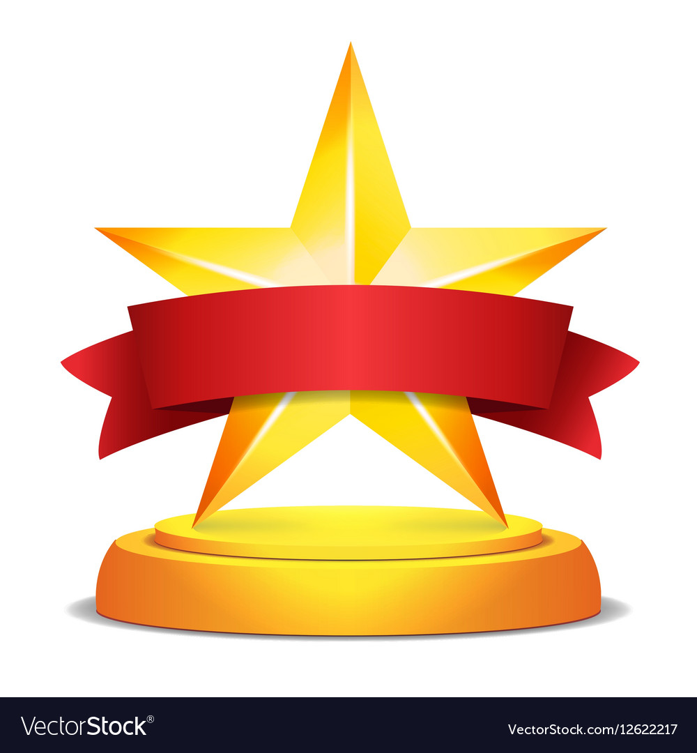 Gold Star Award Red Ribbon With Place For Text.