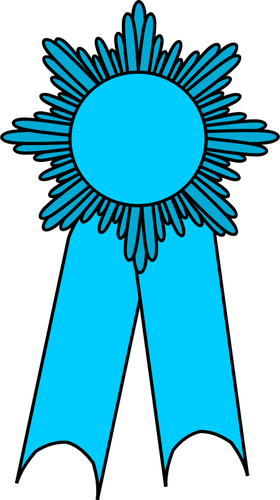 Vector clip art of medal with a light blue ribbon.