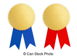 Winner gold seal medal award with blue and red ribbon Clipart and.