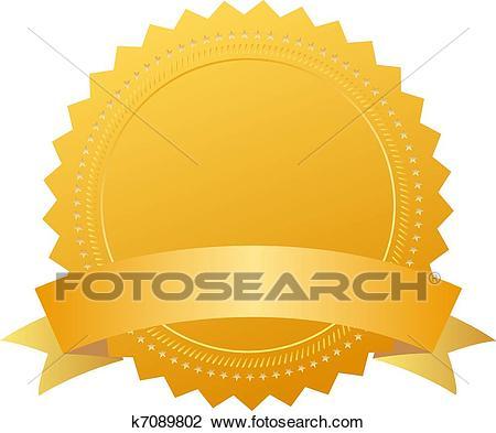 Award seal with ribbon Clipart.