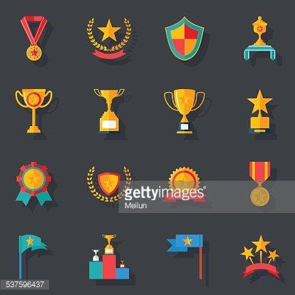 Flat Design Awards Symbols and Trophy Icons Set Isolated.