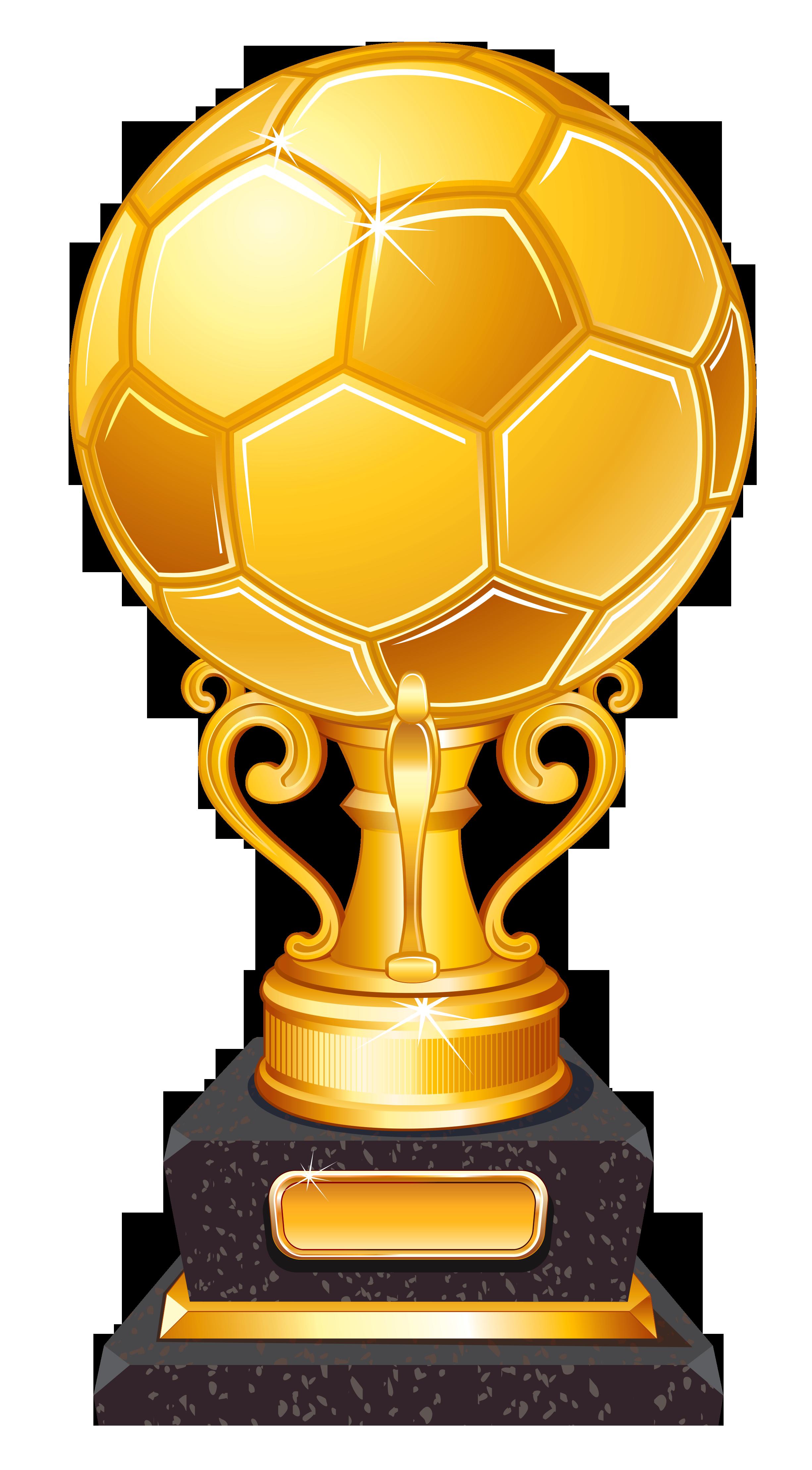 Gold Football Award Trophy Transparent PNG Clipart.
