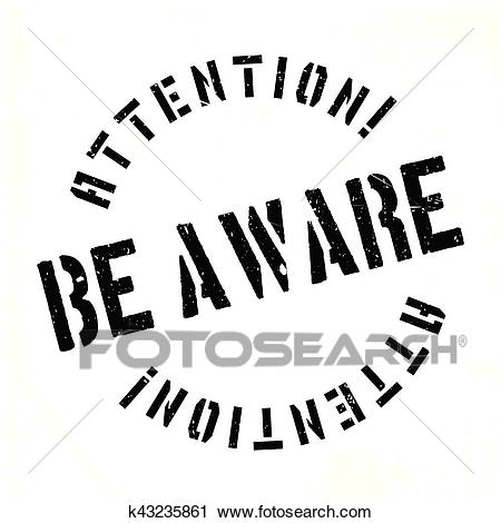 Be Aware rubber stamp Clipart.