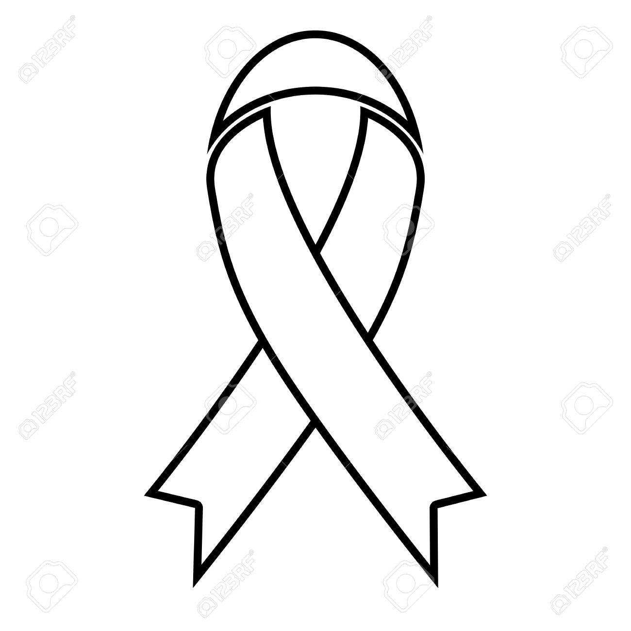 Black awareness ribbon line icon » Clipart Station.