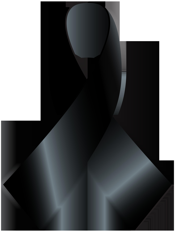 Black Awareness Ribbon PNG Clip Art.